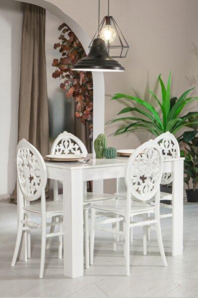 SANDALİE Arda / Venüs Mutfak Masa Takımı 1 Masa 4 Sandalye - Beyaz