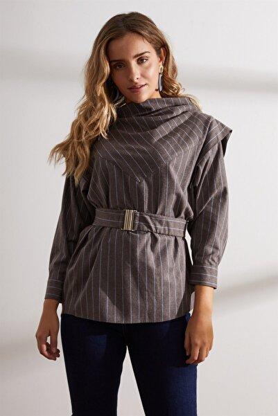 Setre Kadın Kahverengi Yaka Detaylı Kemerli Tunik
