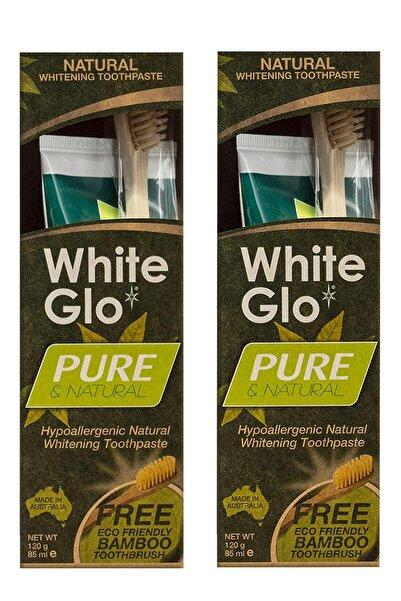 White Glo Pure Natural Doğal Ve Bitkisel Beyazlatıcı Diş Macunu + Bambu Diş Fırçası Avantaj Paket X 2 Adet