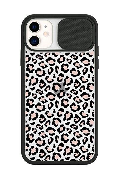 Spoyi Iphone 11 Slayt Kamera Lens Korumalı Leopar Tasarımlı Siyah Telefon Kılıfı