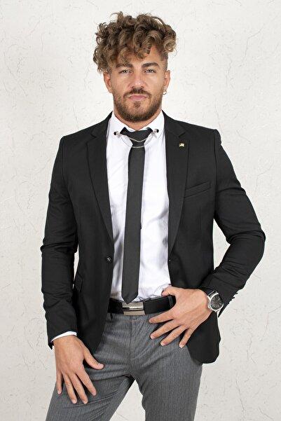 DeepSEA Erkek  Siyah   Slim Fit Tek Düğmeli Poliviscon Blazer Ceket