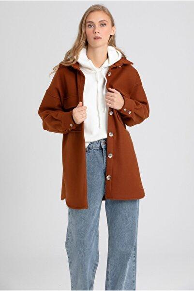 VorNişantaşı Kadın Kahverengi Cepli Kaşe Gömlek Ceket