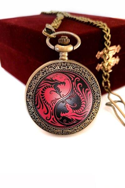 denacci Yin Yang Ejderha Vintage Köstekli Cep Saati Kadife Kaplı Ahşap Kutusunda