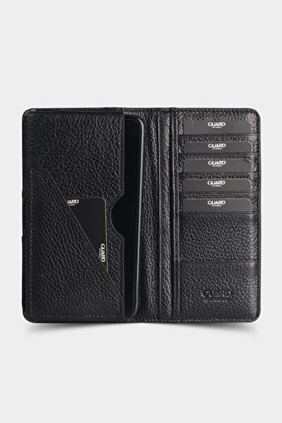 GUARD Unisex Siyah Deri Telefon Kılıflı Cüzdan Kartlık