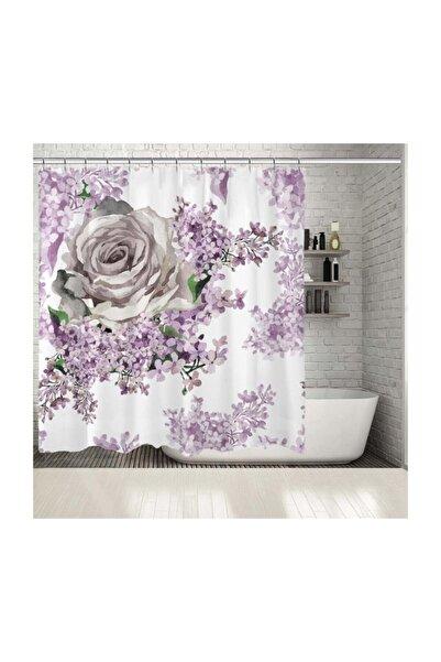 Henge Home Baskılı Duş Perde Mor Ve Lila Renk Etkili Gül Ve Yaprak Desenli
