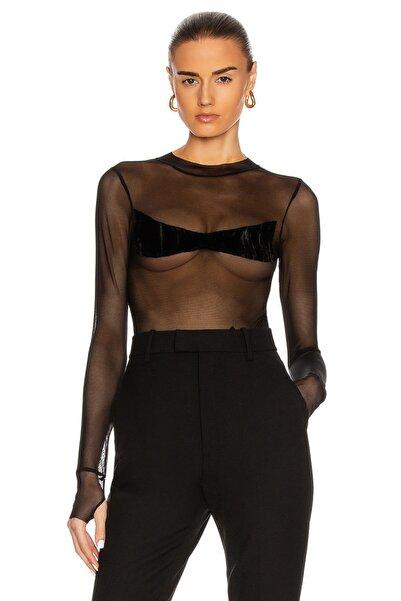 By Umut Design Kadın Siyah Transparan Kadife Detaylı Tül Body