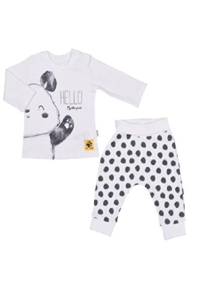 kitikate Erkek Bebek Beyaz Panda 2'li Takım