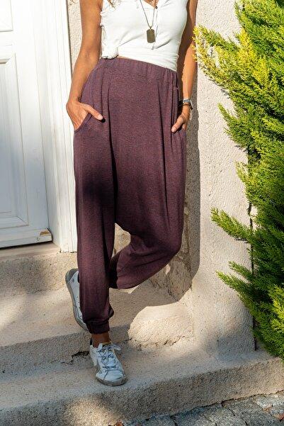 Güneşkızı Kadın Bordo Beli Lastikli Cepli Yün Salaş Şalvar Pantolon Gk-bst2992