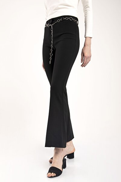 MD trend Kadın Siyah Yüksek Bel Ispanyol Paça Kemerli Kumaş Pantolon