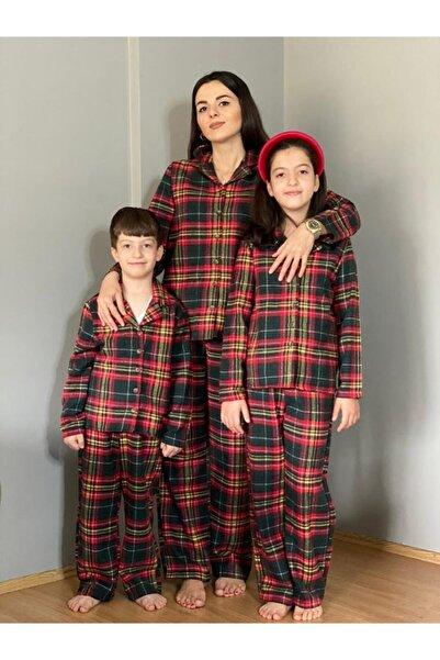 YEŞİL GİYİM Kadın Yeşil Yılbaşı Desen Yeşil Pijama Takımı