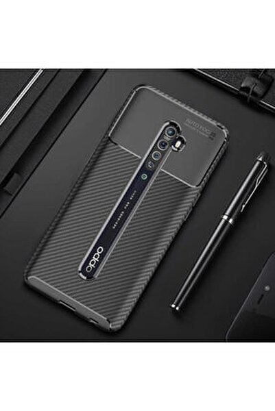 Reno 2z Kamera Korumalı (carbon Tasarım) Silikon Kılıf Siyah