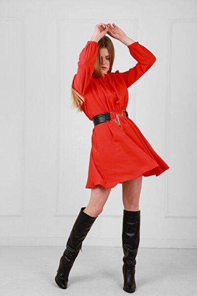 JEANNE DARC Kırmızı Deri Kemerli Uzun Kollu Yakadan Büzgülü Elbise Je92431