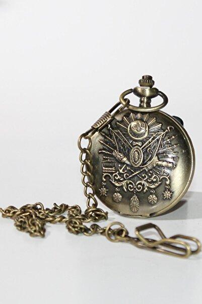 Herseyciavm Kabartmalı Tuğra Temalı Köstekli Cep Saati