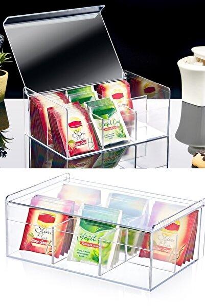Kitchen Life 6 Bölmeli Çay Saklama Kutusu - Açılır Kapaklı