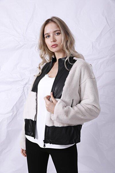 Cliche Kadın Siyah Deri Parça Detaylı Vizon Kürklü Ceket