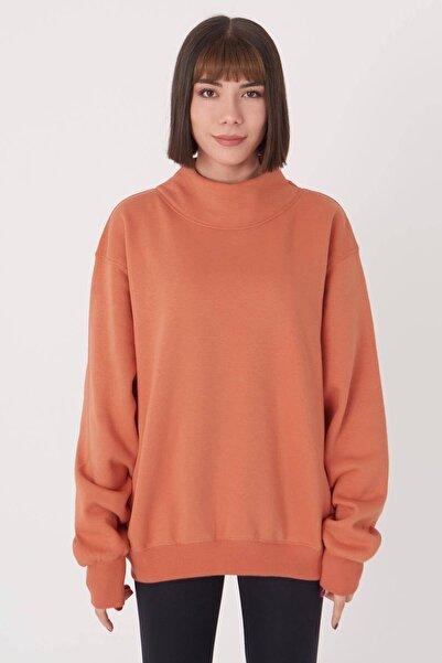 Addax Kadın Kayısı Yaka Detaylı Sweatshirt S1078 - T10 Adx-0000023202