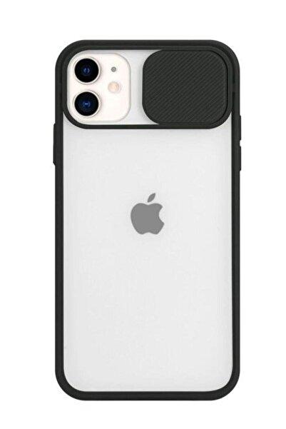 zore Siyah Iphone 11 Slayt Kamera Lens Korumalı Telefon Kılıfı