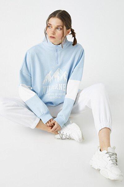 Koton Kadın Mavi Sweatshirt 1KAL68123OK
