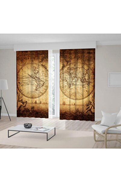Henge Home 1733 Vintage Dünya Harita Desenli Fon Perde