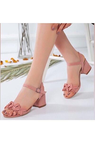 VELASKO Kadın Yazlık Sandalet Ayakkabı Pudra Süet Kalın Topuk