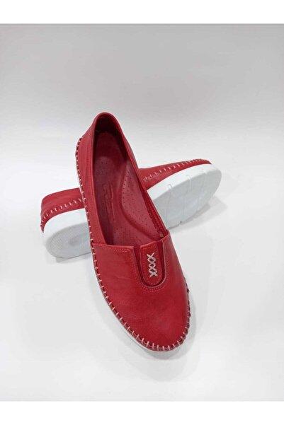 PUNTO 606116 Kırmızı Hakiki Deri Ortopedik Taban El Dikişli Kadın Günlük Ayakkabı