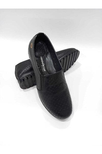 Modesa By Kavcar 027 Siyah Hakiki Deri Ortopedik Taban El Dikişli Kadın Günlük Ayakkabı