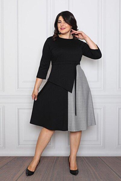 Element's Kadın Siyah Iki Renkli Ve Kuşak Detaylı Elbise