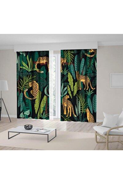 Henge Home Yeşil Tonlu Yapraklar Ve Leoparlı Kaplan Desenli Fon Perde