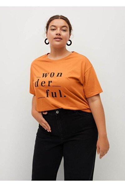 Violeta by MANGO Kadın Turuncu Yazı Baskılı Tişört