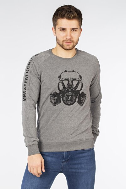 BARRELS AND OIL Erkek Gri Mesafeni Koru Baskılı Sweatshirt