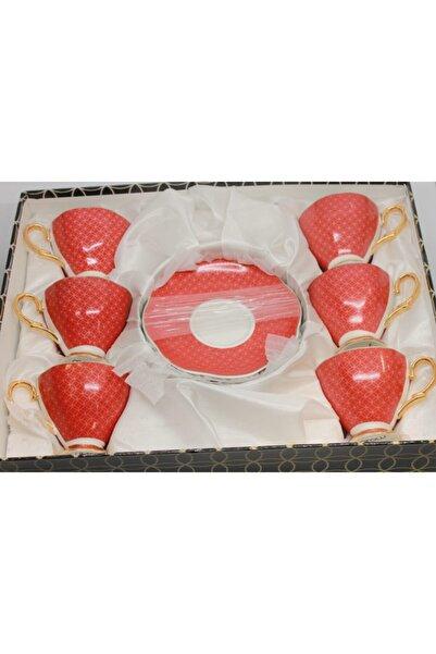 AROW Kırmızı 6 lı Ayaklı Fincan Takımı