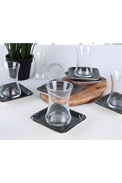Keramika 12 Parça 6 Kişilik Mermer Desen Çay Takımı Siyah