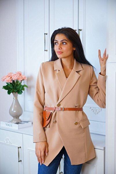 STİLEEST Kadın Kruvaze Çanta Kemerli Ceket Viskose Kumaş
