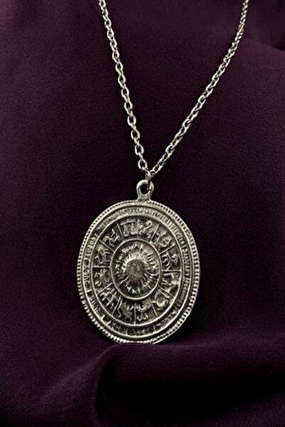 Maya Takvimi Burçlar Gümüş Kaplama Zincir Kolye