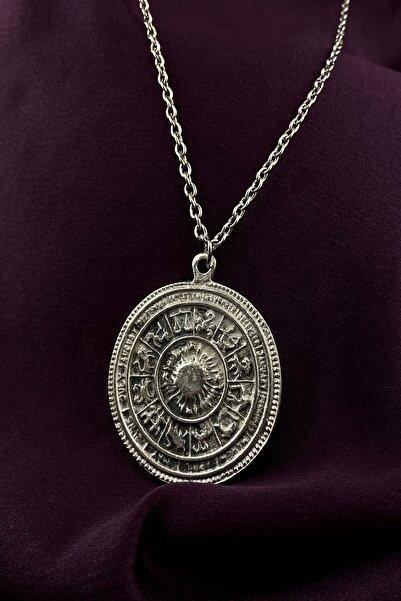 MOONİ ACCESSORİES Maya Takvimi Burçlar Gümüş Kaplama Zincir Kolye