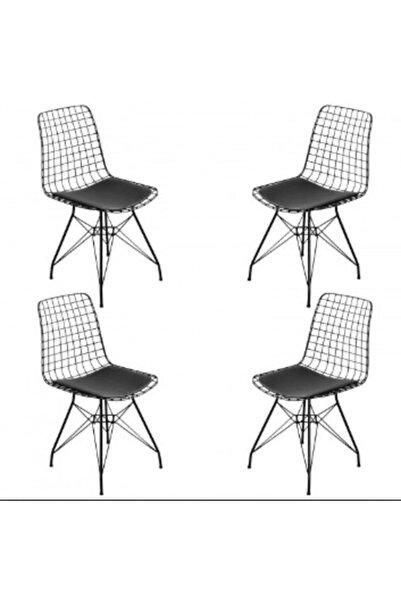 Cosargroup 4 Adetdekor Siyah Tel Sandalye Bahçe Ev-yaşam Kafe