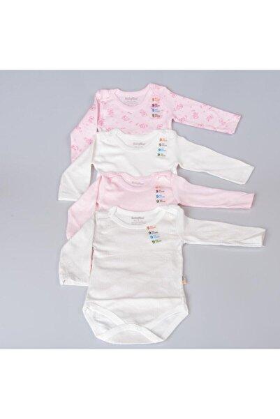 POKY BEBE Kız Bebek Beyaz-Pembe Karışık Desenli Uzun Kollu Çıtçıtlı Body Zıbın-2021 4'lü
