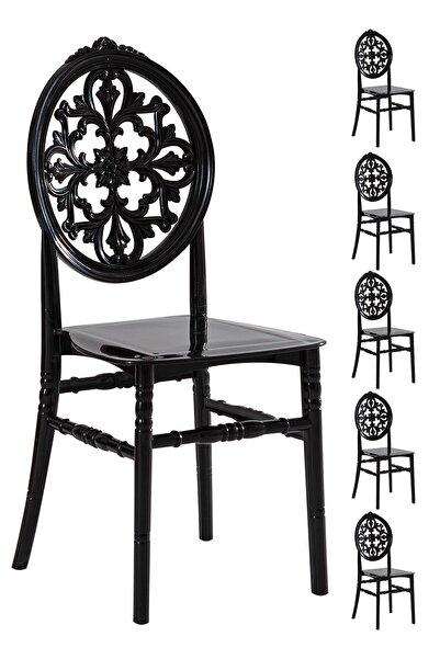 SANDALİE 6 Adet Venüs Siyah Sandalye / Balkon-bahçe-mutfak