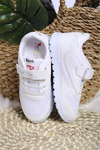 Oksit Unisex Çocuk Beyaz Cırtlı File Detaylı Kalın Taban Sneaker