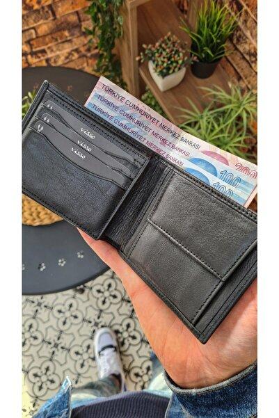 Visso leather Visso 261 Hakiki Deri Bozuk Para Cepli Kimlik Kart Bölmeli Siyah Renk Deri Cüzdan