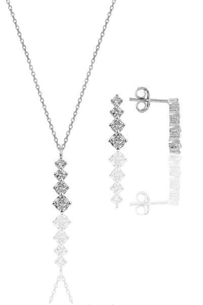 Söğütlü Silver Gümüş Rodyumlu Zirkon Taşlı Işıltılı Ikili Set