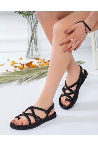 AYKMAR Kadın Siyah Halat Sandalet
