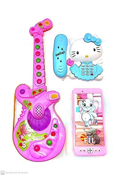 berattoys Üçürün Birarada Türkçe Müzikli Işıklı Gitar Ve Pilli Işıklı Sesli 2 Model Telefon