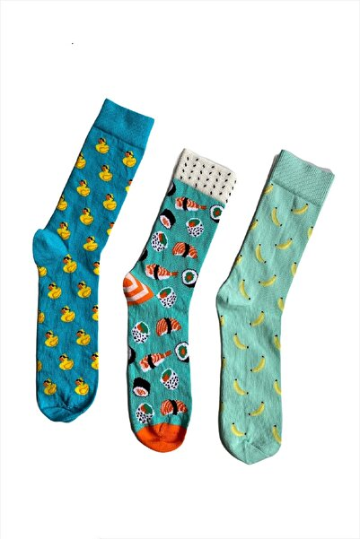 Moda Çorap H&m Unisex Ördek Balıksushi Muz Desenli 3 Lü Çorap Seti