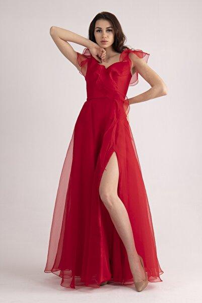 belamore Kırmızı Volanlı Dalya Kumaş Abiye & Mezuniyet Elbisesi 13015499