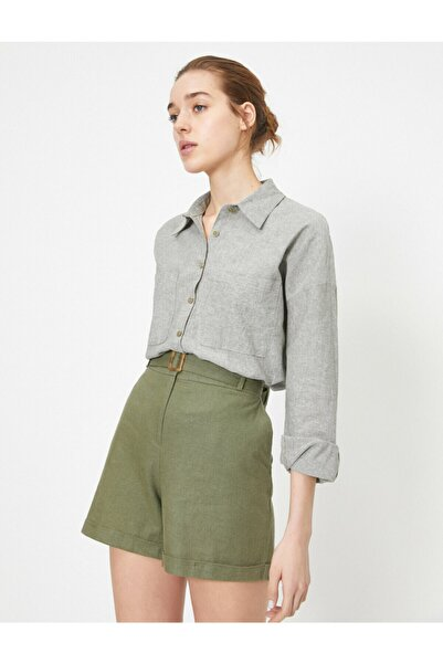 Kadın Yeşil Cep Detayli Dügmeli Gömlek 0YAK68152PW