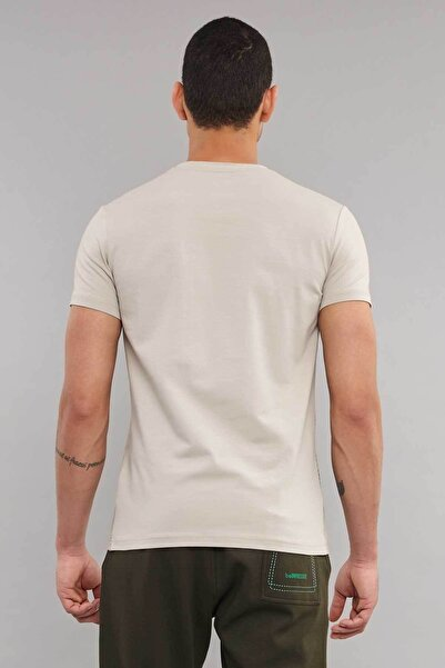 Krem Pamuklu Erkek T-Shirt ES-3871