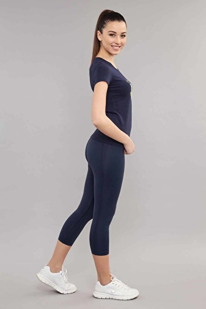 Lacivert Likralı Pamuklu Kadın  T-Shirt ES-3701