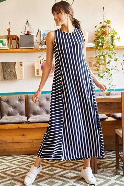 Olalook Kadın Lacivert Çizgili Uzun Salaş Elbise ELB-19001075