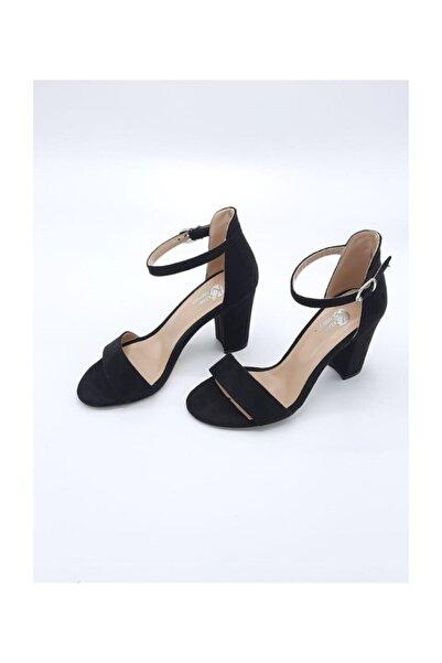 Stella Kadın Siyah Tekbant Süet Topuklu Ayakkabı